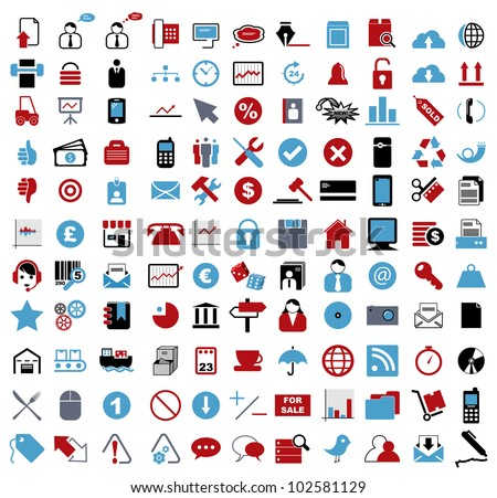 Vector illustration of various business, financial, entertainment, office, internet and computer icons. - stock vector