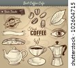 Vector illustration of various cafe items doodled in vintage style. Great for menu use. Includes a cup, saucer, maker, teapot, leaf, biscotti, and beans. Coffee labels. Eye represents awake.Eps10 - stock photo