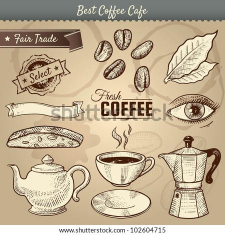 Vector illustration of various cafe items doodled in vintage style. Great for menu use. Includes a cup, saucer, maker, teapot, leaf, biscotti, and beans. Coffee labels. Eye represents awake.Eps10 - stock vector
