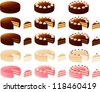 Vector illustration of various cakes. - stock vector