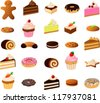 vector illustration of various cakes and pastries isolated on white. - stock vector