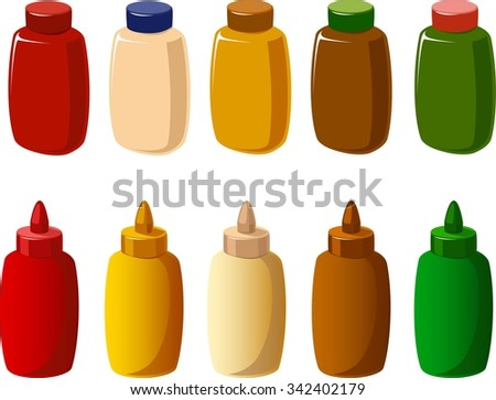 Vector illustration of various condiments in two kinds of bottles. - stock vector