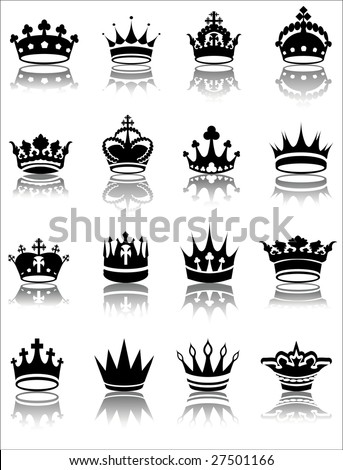 Vector illustration of various crown designs - stock vector