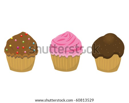 Vector illustration of various cupcakes - stock vector