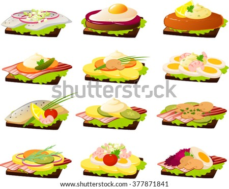 Vector illustration of various danish openfaced sandwiches ( Smørrebrød) - stock vector