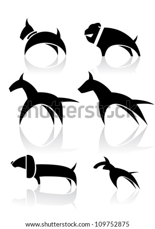 Vector illustration of various dog - stock vector