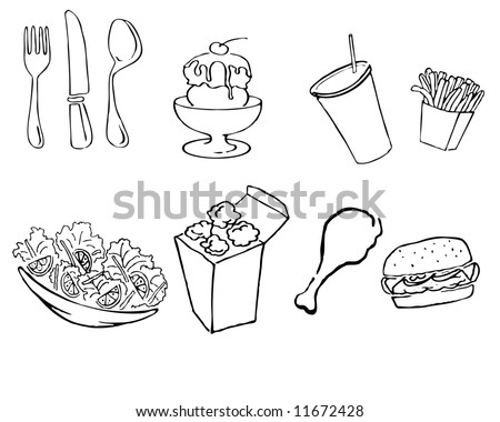 vector illustration of various food icons - stock vector