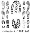 Vector illustration of various footprint shoeprint traces. Collection number 1. - stock vector