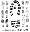 Vector illustration of various footprint shoeprint traces. Collection number 2. - stock vector