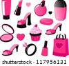 Vector illustration of various girly beauty and fashion items in black and pink isolated on white. - stock vector