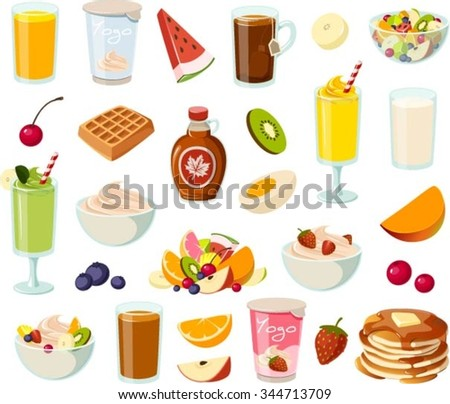 Vector illustration of various healthy breakfast items. - stock vector
