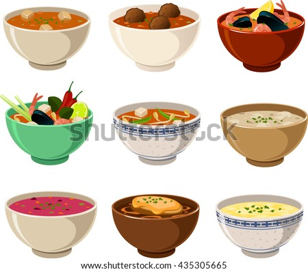 Vector illustration of various international soups - stock vector