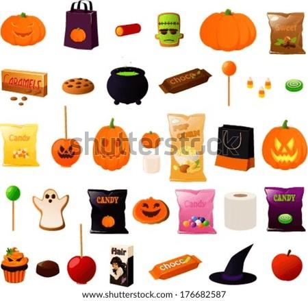 vector illustration of various items used on halloween - Halloween Items