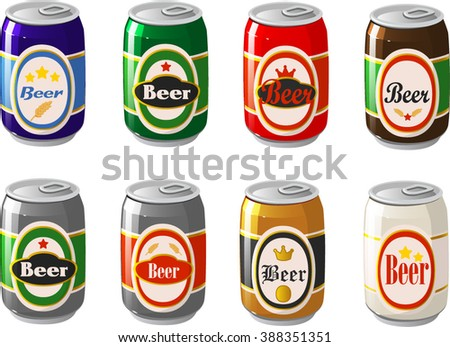 Vector illustration of various kinds of beer cans. - stock vector