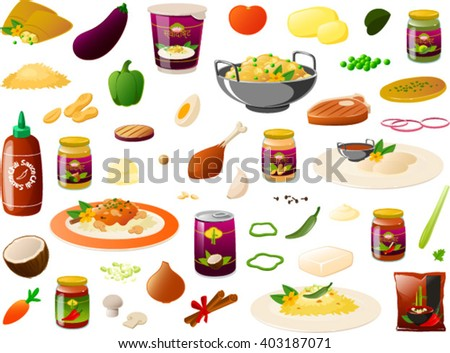 Vector illustration of various kinds of indian food products. The hindi characters mean 'delicious'. - stock vector