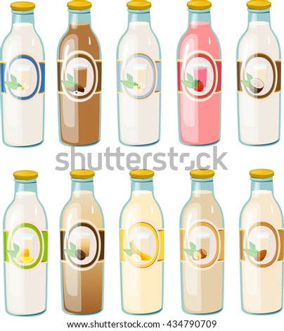Vector illustration of various milk bottles. - stock vector