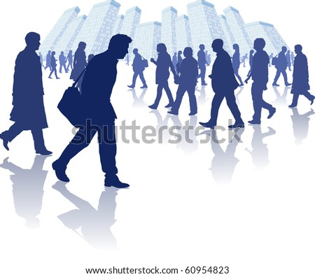 vector illustration of various people walking through a city environment. All individual elements are separately grouped and layered for easy editing. - stock vector