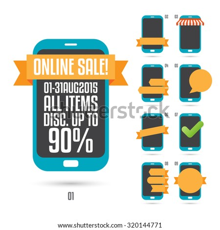 Vector illustration of various phone advertisement labels and banners. - stock vector