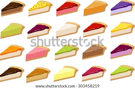 Vector illustration of various pies/ cheesecakes in different flavors. - stock vector