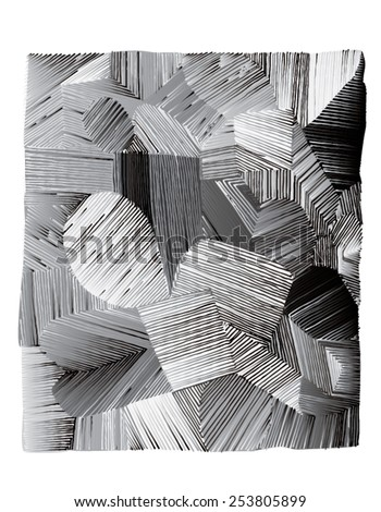 Vector illustration of various shapes striped hand drawn image. Black and white freehand drawing.