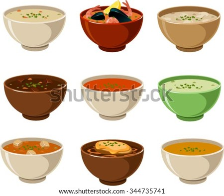 Vector illustration of various soups. - stock vector