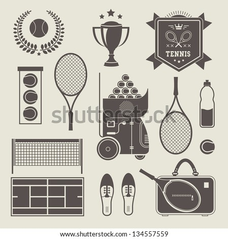Vector illustration of various stylized tennis icons - stock vector