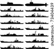 Vector illustration of various warships. - stock photo