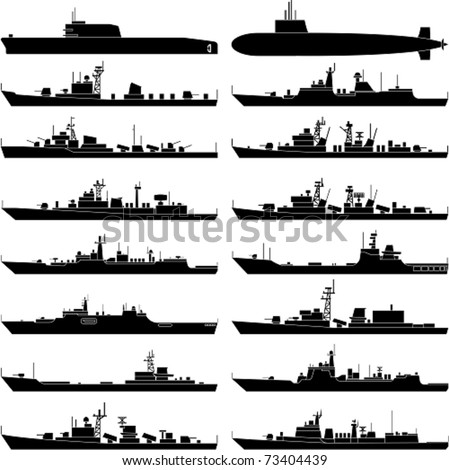 Vector illustration of various warships. - stock vector