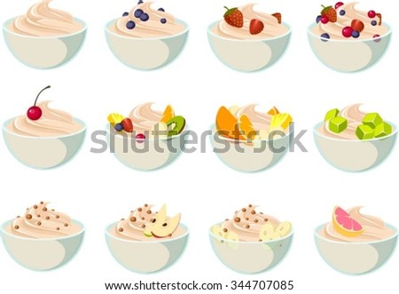 Vector illustration of various yogurt desserts. - stock vector