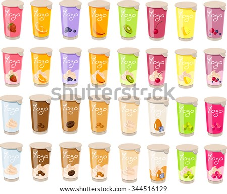 Vector illustration of various yogurts and puddings.