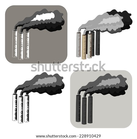Vector illustration of varying chimneys - stock vector