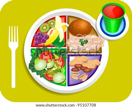 Vector illustration of Vegan or Vegetable Lunch items for the new my plate replacing food pyramid. - stock vector