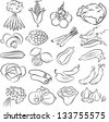 vector illustration of  vegetables collection in black and white - stock vector