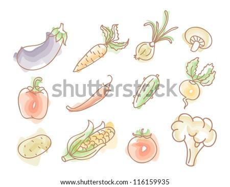 Vector illustration of Vegetables colorful doodles set - stock vector