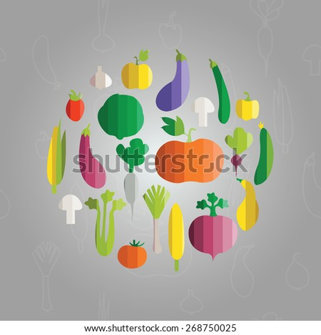 vector illustration of vegetables in modern flat design style