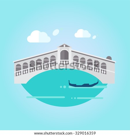 Vector Illustration of Venice bridge on water and gondola, vector illustration   - stock vector