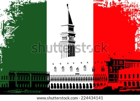 Vector illustration of Venice, Italy - St Marks Campanile on the Italian flag background - stock vector
