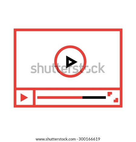 vector illustration of video player flat line - stock vector