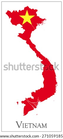 Vector illustration of Vietnam flag map. - stock vector
