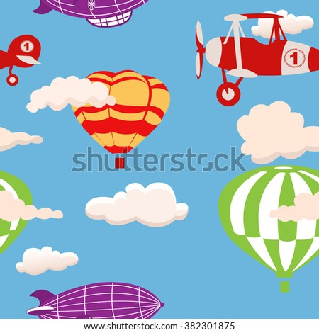 Vector illustration of vintage airships and balloons flying on cloudy sky, seamless background. Flat design. - stock vector