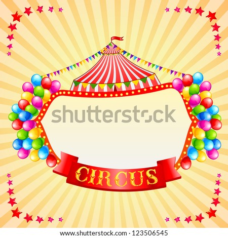 vector illustration of vintage circus poster with copyspcae - stock vector