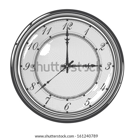 Vector illustration  of  vintage clock or watch in engraved style - stock vector