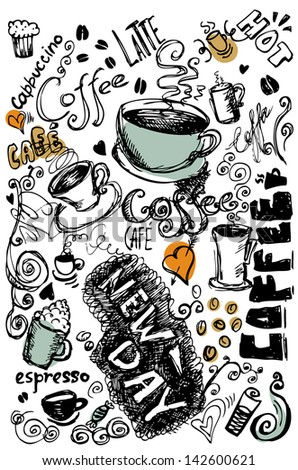 Vector illustration of vintage coffee doodles - stock vector