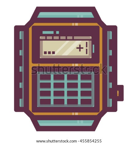 Vector illustration of vintage electronic watch on white background. Orange.