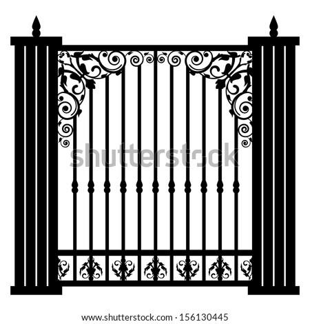 Vector illustration of vintage gate - stock vector