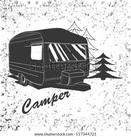 Vector Illustration Of Vintage Lettering Travel Vehicles Camper Vans Caravans Typographic Camp Calligraphy