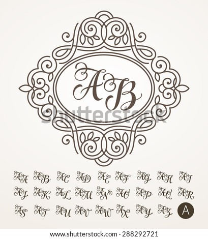 Monogram letters stock images royalty free images vectors vector illustration of vintage monogram emblem or label design template with ornamental frame pronofoot35fo Images
