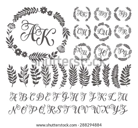 Vector illustration vintage monogram set design stock vector vector illustration of vintage monogram set design template with floral frame leaves and elements pronofoot35fo Images