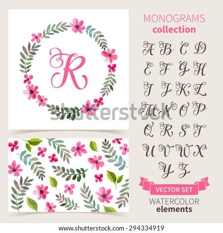 vector illustration of vintage monogram set design template with floral frame leaves and elements