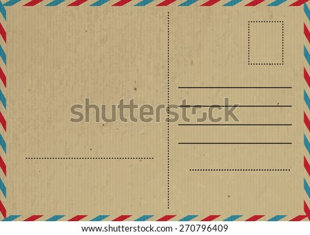 Vector illustration of Vintage postcard with paper texture - stock vector